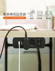 TP064_2孔插座+2USB 3.1A+過流斷電保護開關
